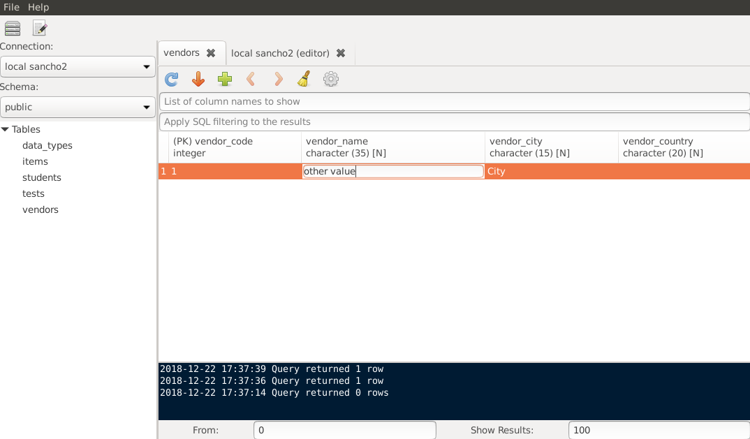 Building a Postgres GUI client with C++ and GTK (SanchoSQL)